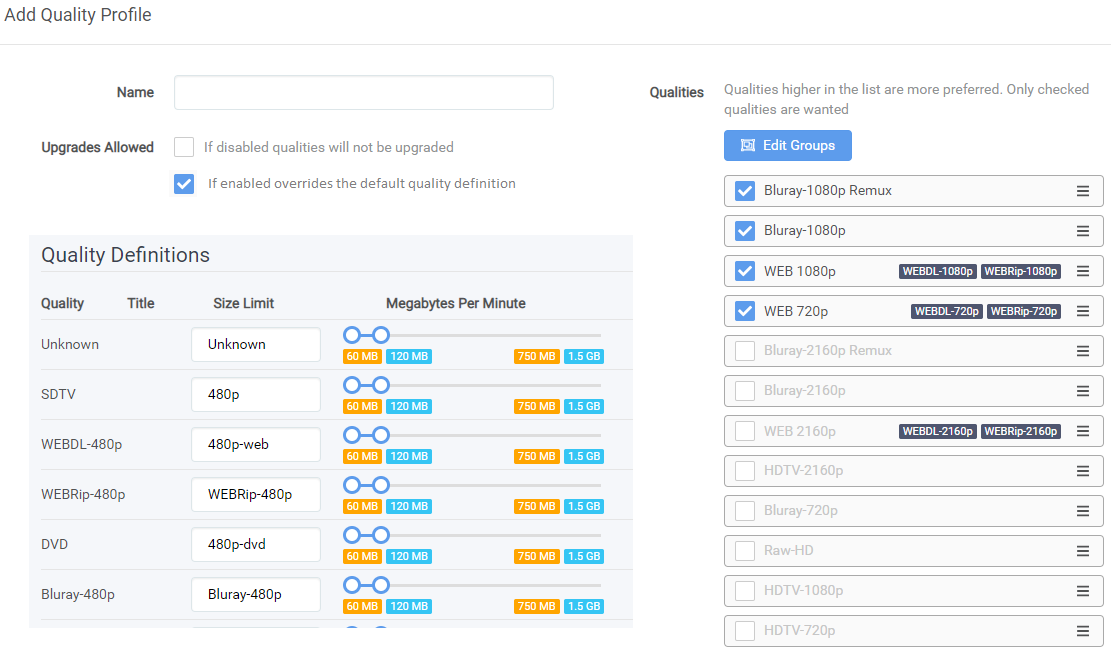How to control file sizes - Help & Support - sonarr :: forums